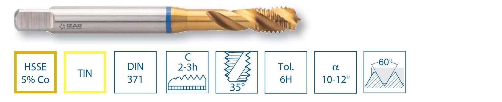 Závitníky - slepý otvor HSSE TiN